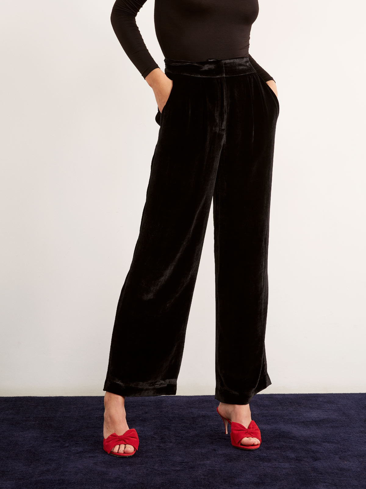 Meghan Black Wide Leg Velvet Trousers by KITRI Studio