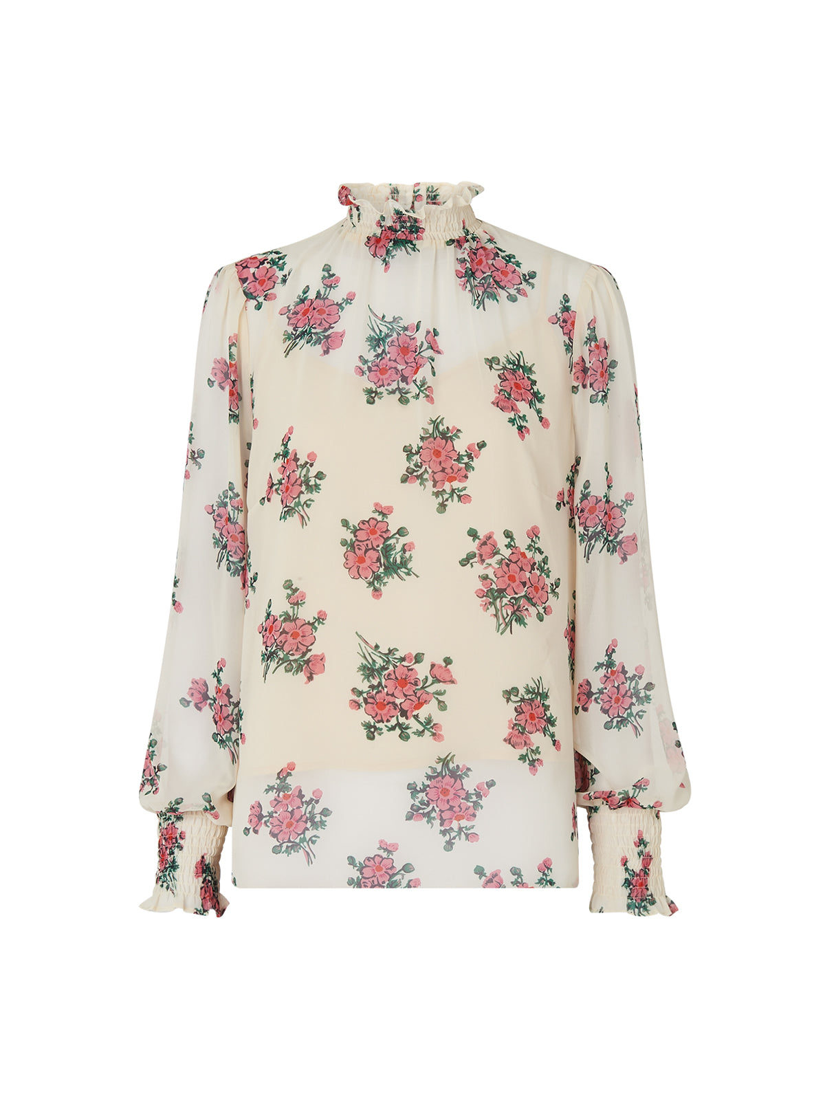 Meredith Cream Smocked Floral Print Blouse by KITRI Studio