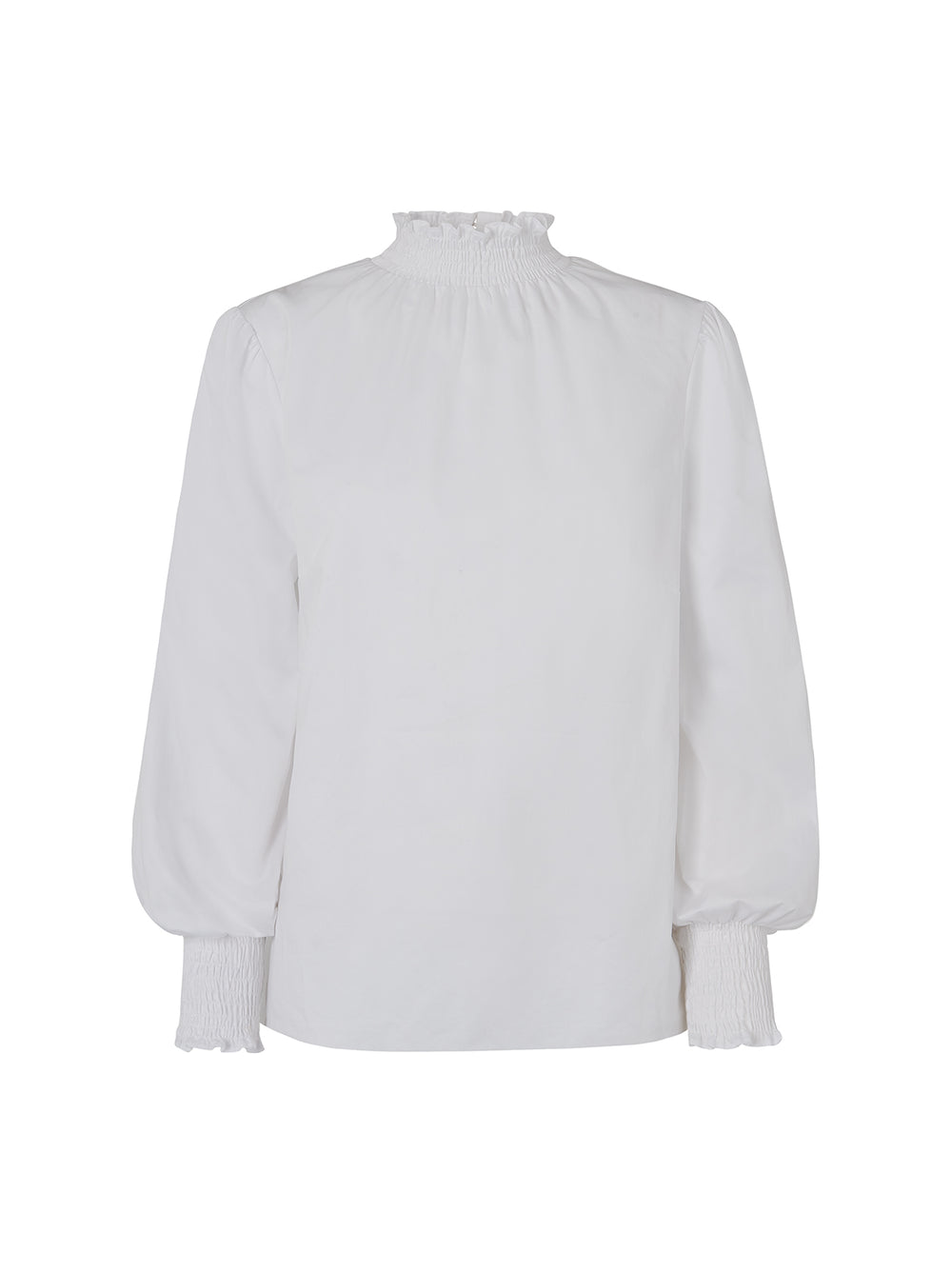 Meredith White High Neck Smocked Shirt by KITRI Studio