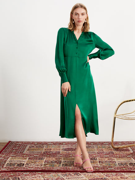 Mindy Green Silk Midi Dress by KITRI Studio