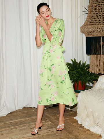 Minka Green Floral Print Tea Dress by KITRI Studio