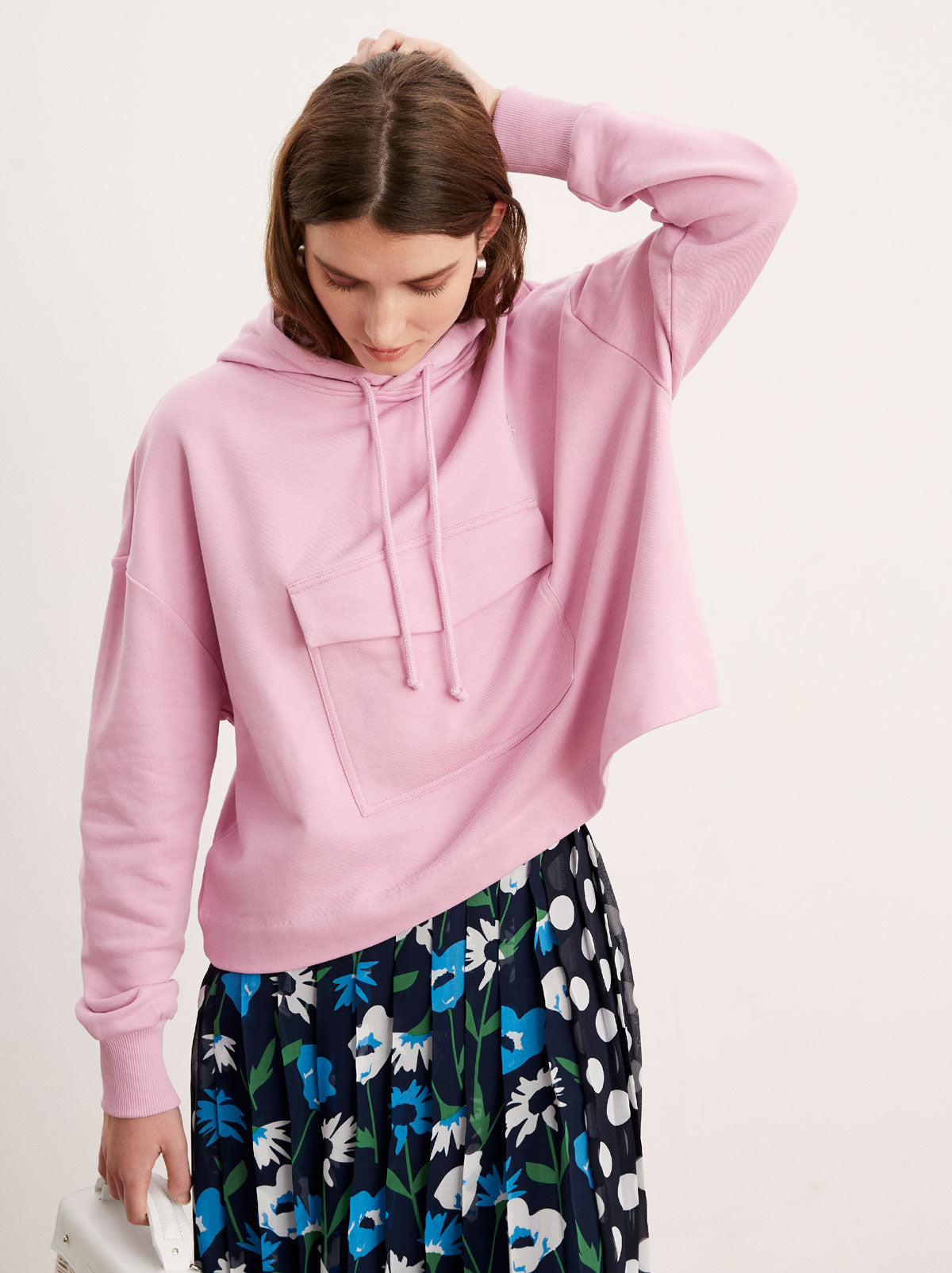 Mirabel Pink Cotton Pocket Hoody by KITRI Studio