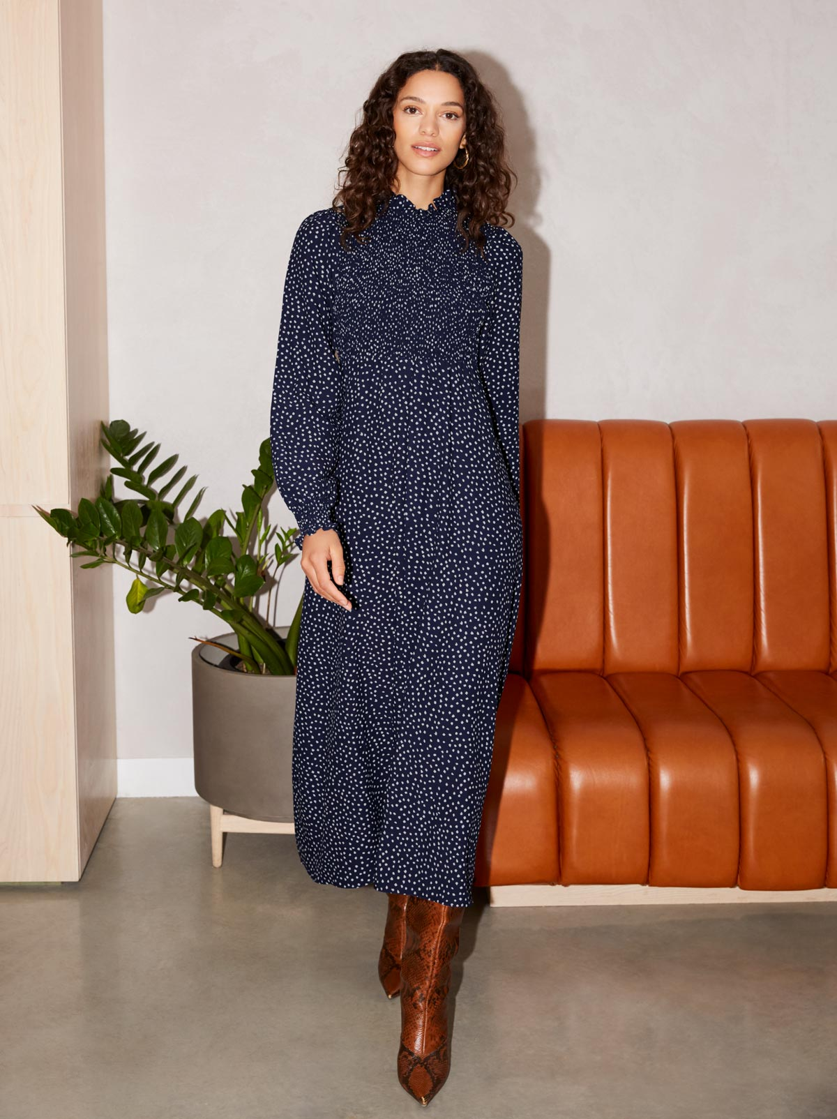 Molly Navy Spot Print Smocked Dress by KITRI Studio