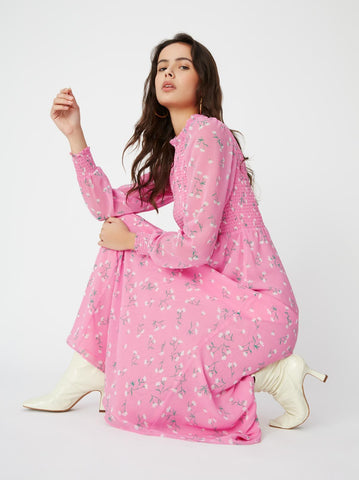 Molly Pink Ditsy Print Dress by KITRI Studio