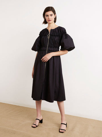 Myrtha Black Cotton Midi Shirt Dress by KITRI Studio