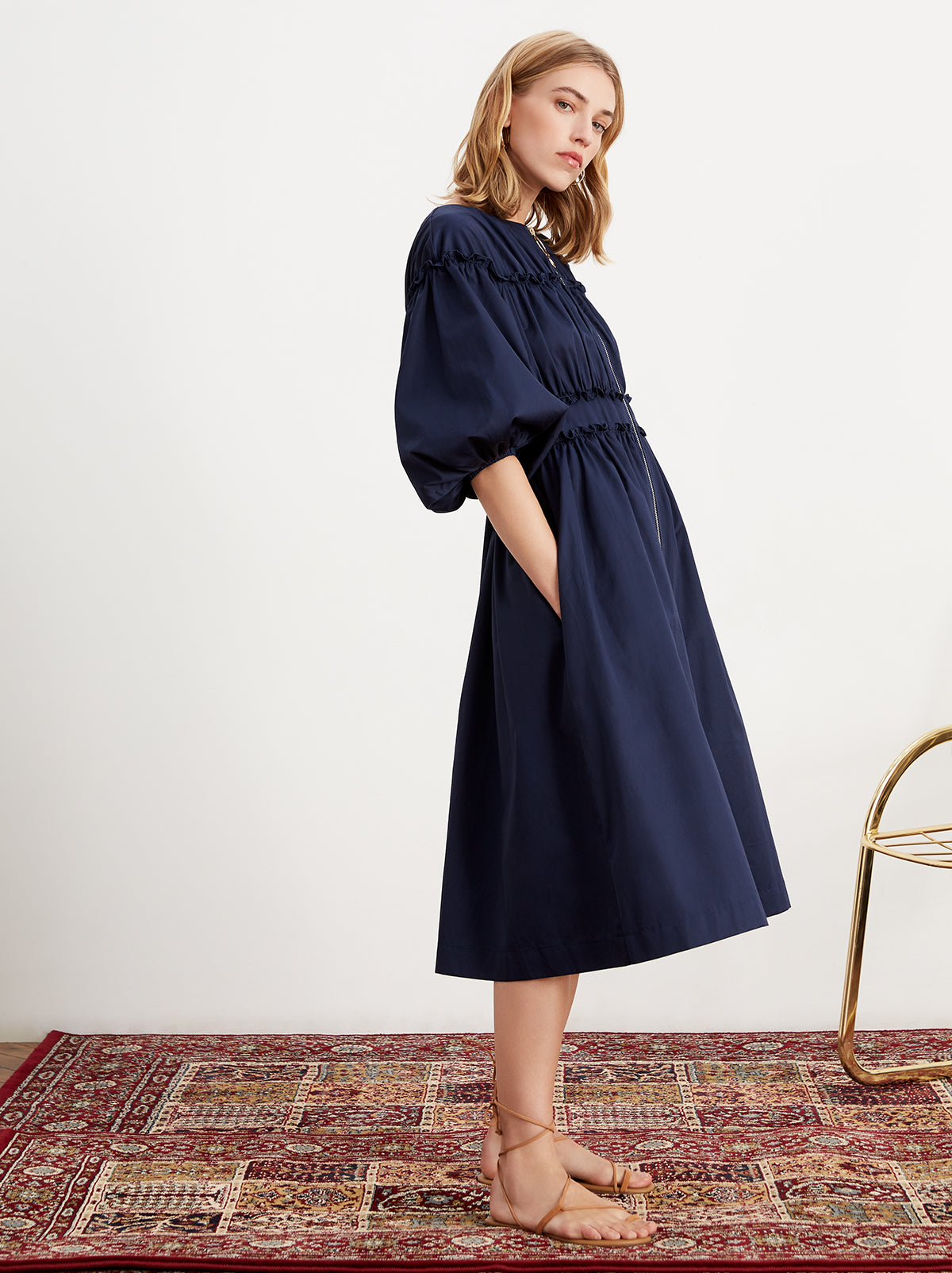 Myrtha Navy Cotton Shirt Dress by KITRI Studio