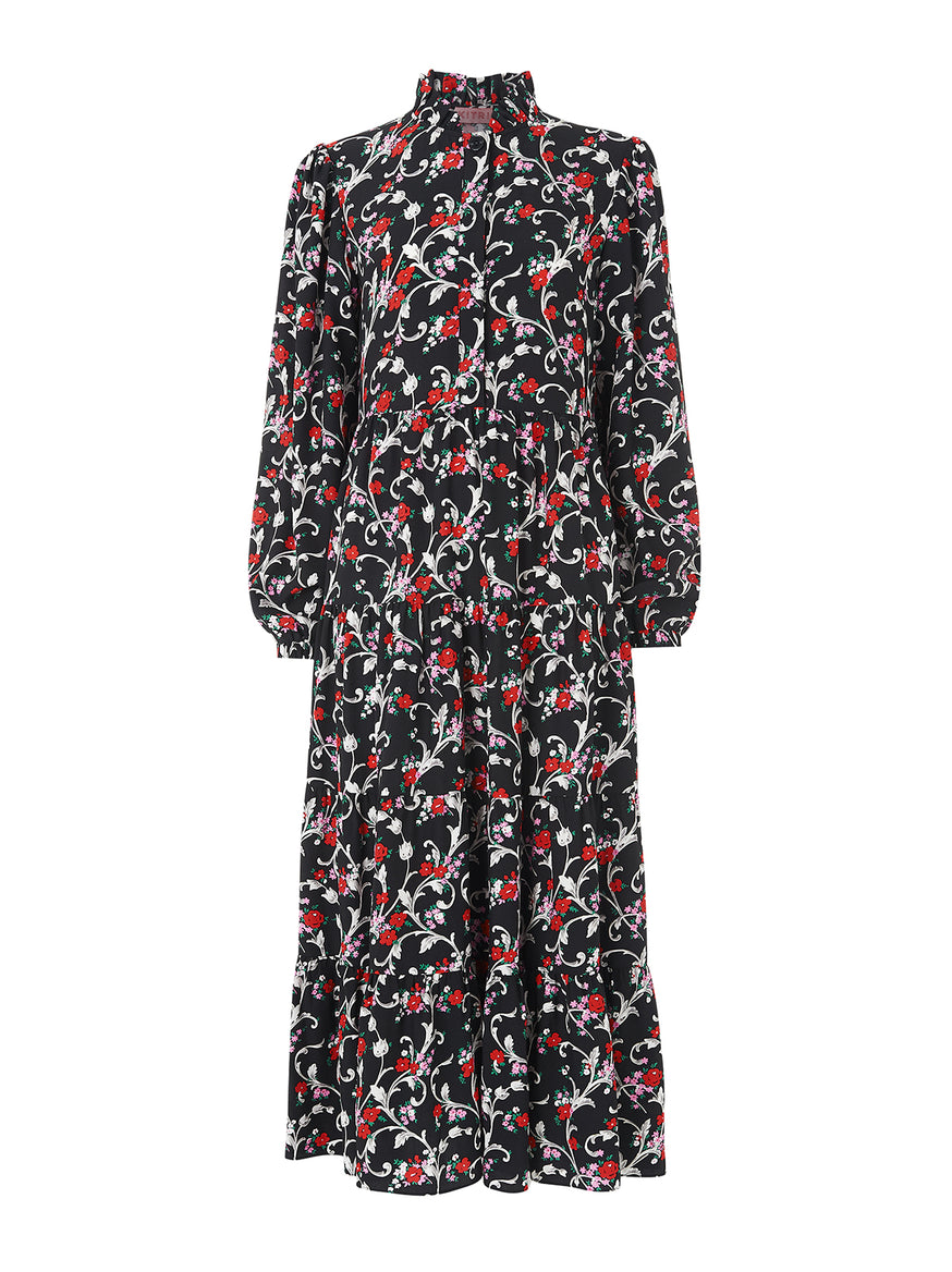 Natalia Vintage Floral Print Maxi Dress by KITRI Studio