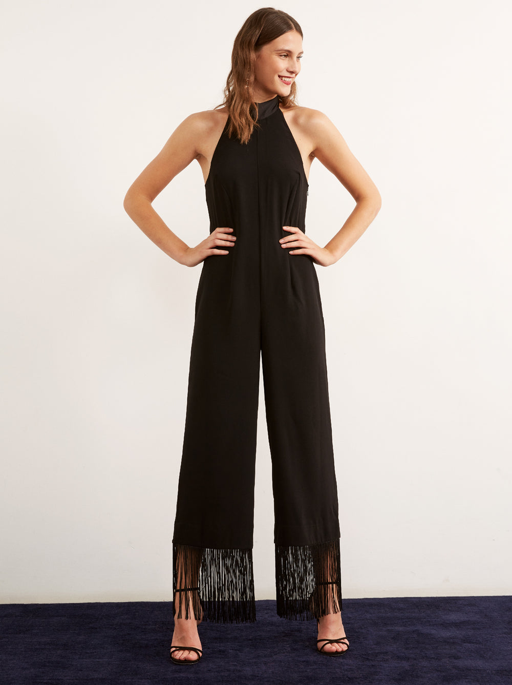 2eb85500790 Nijinsky Black Wide Leg Tassel Jumpsuit by KITRI Studio ...