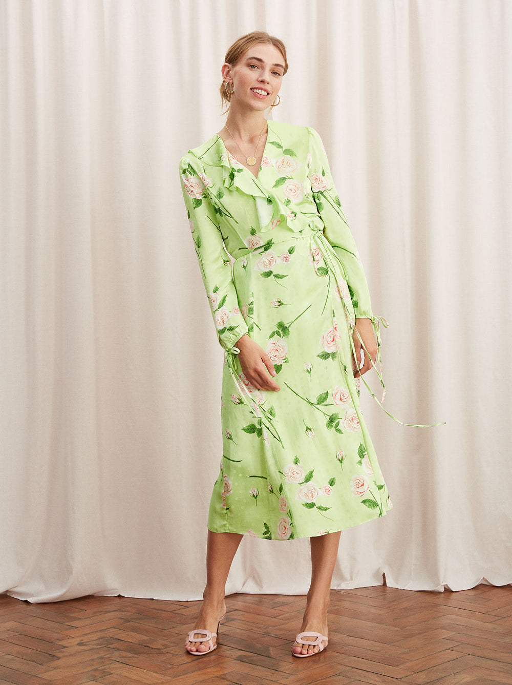 a1599401eff Nita Green Floral Print Frill Wrap Dress by KITRI Studio ...