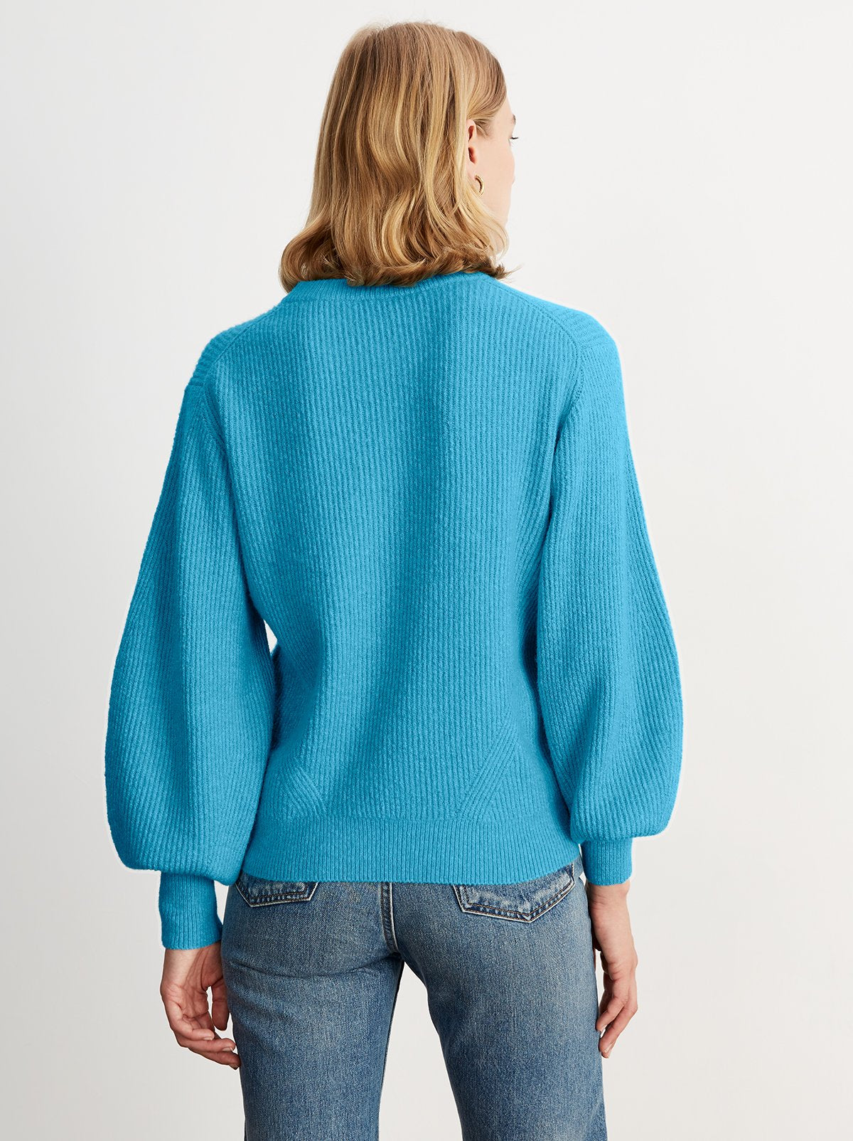 Odell Blue Rib Knit Jumper by KITRI Studio