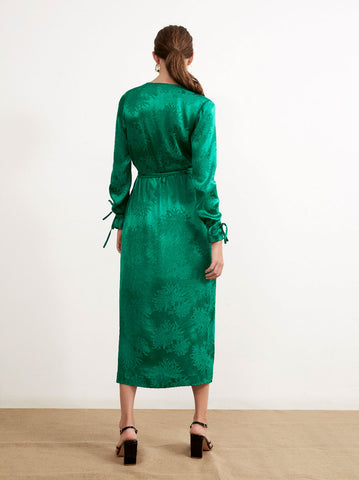 Odile Green Wrap Dress by KITRI Studio