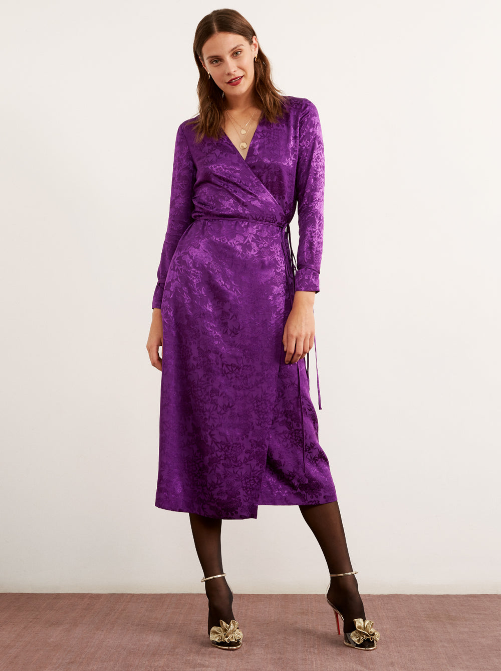 eca3991d877 Odile Purple Floral Print Wrap Dress by KITRI Studio ...