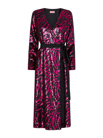 Odile Pink Animal Sequin Wrap Midi Dress by KITRI Studio