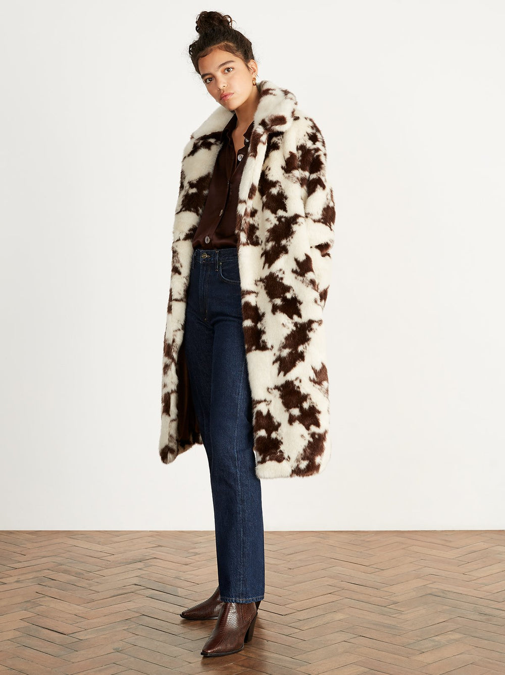Olivia Cow Print Faux Fur Coat by KITRI Studio