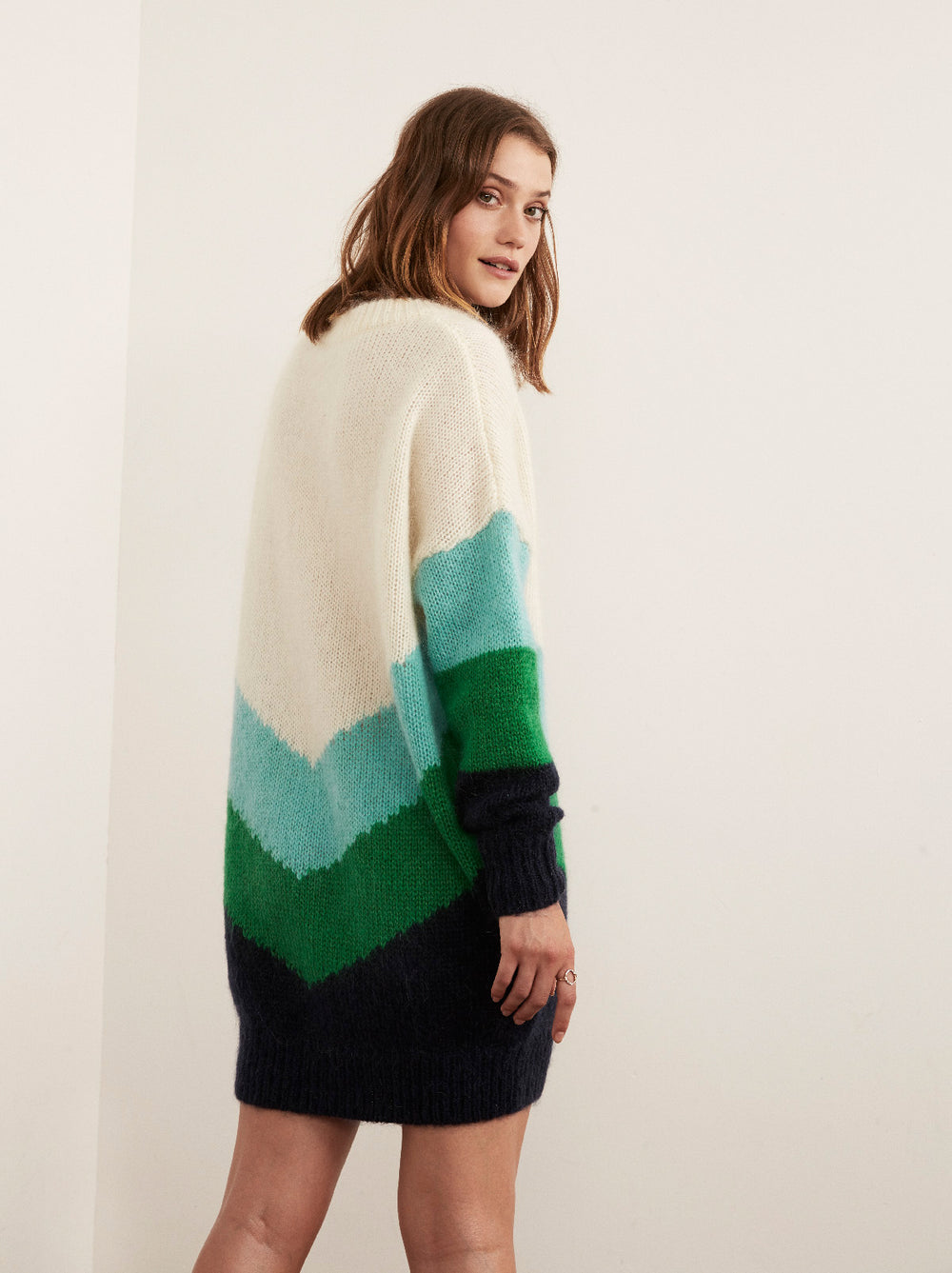 Ariane Mohair Oversized Chevron Jumper by KITRI Studio