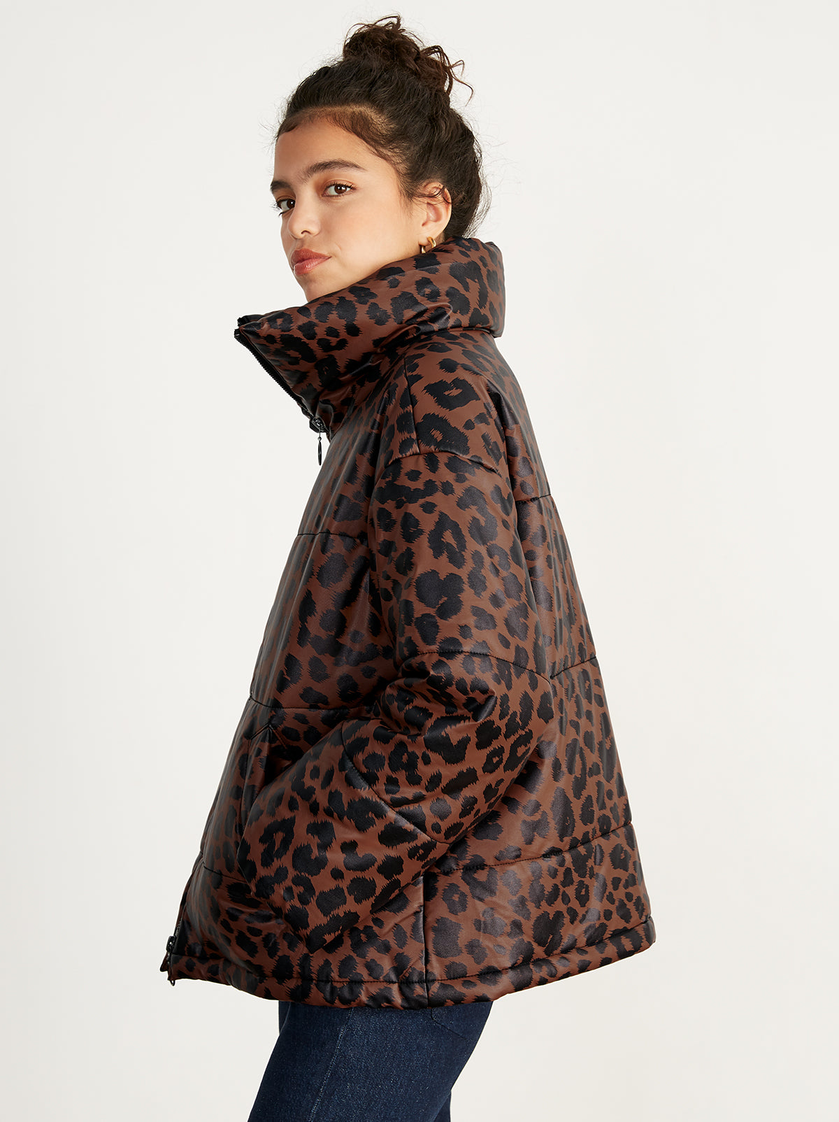 Paloma Leopard Print Faux Leather Puffer Coat