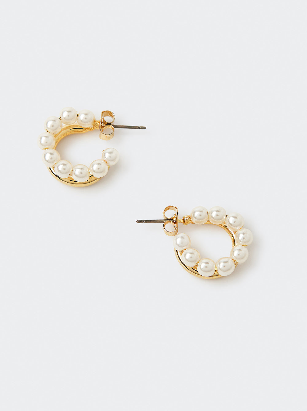 Gold and Pearl Open Hoop Earrings