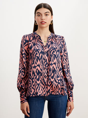 Penny Animal Print Silk Blouse