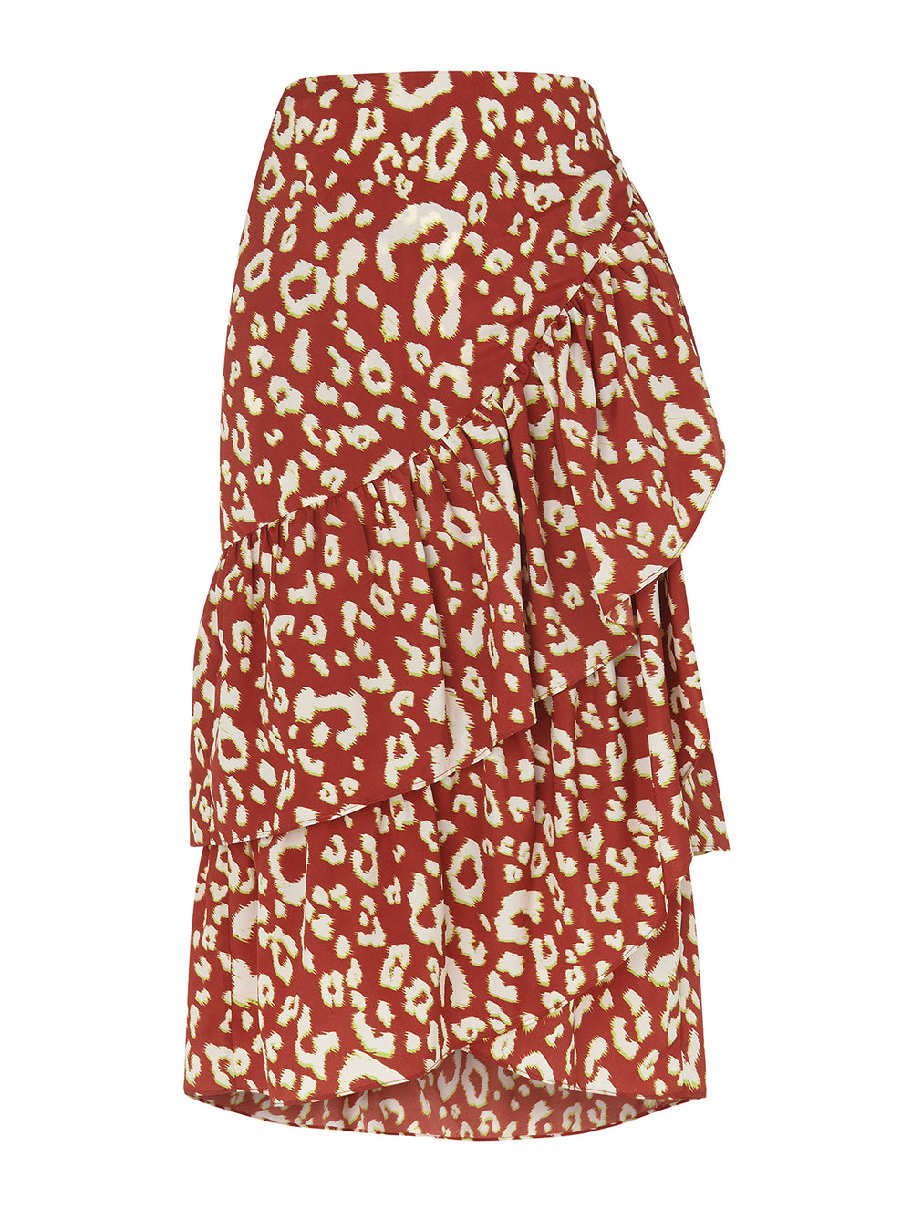 Petulia Animal Print Wrap Midi Skirt by KITRI Studio