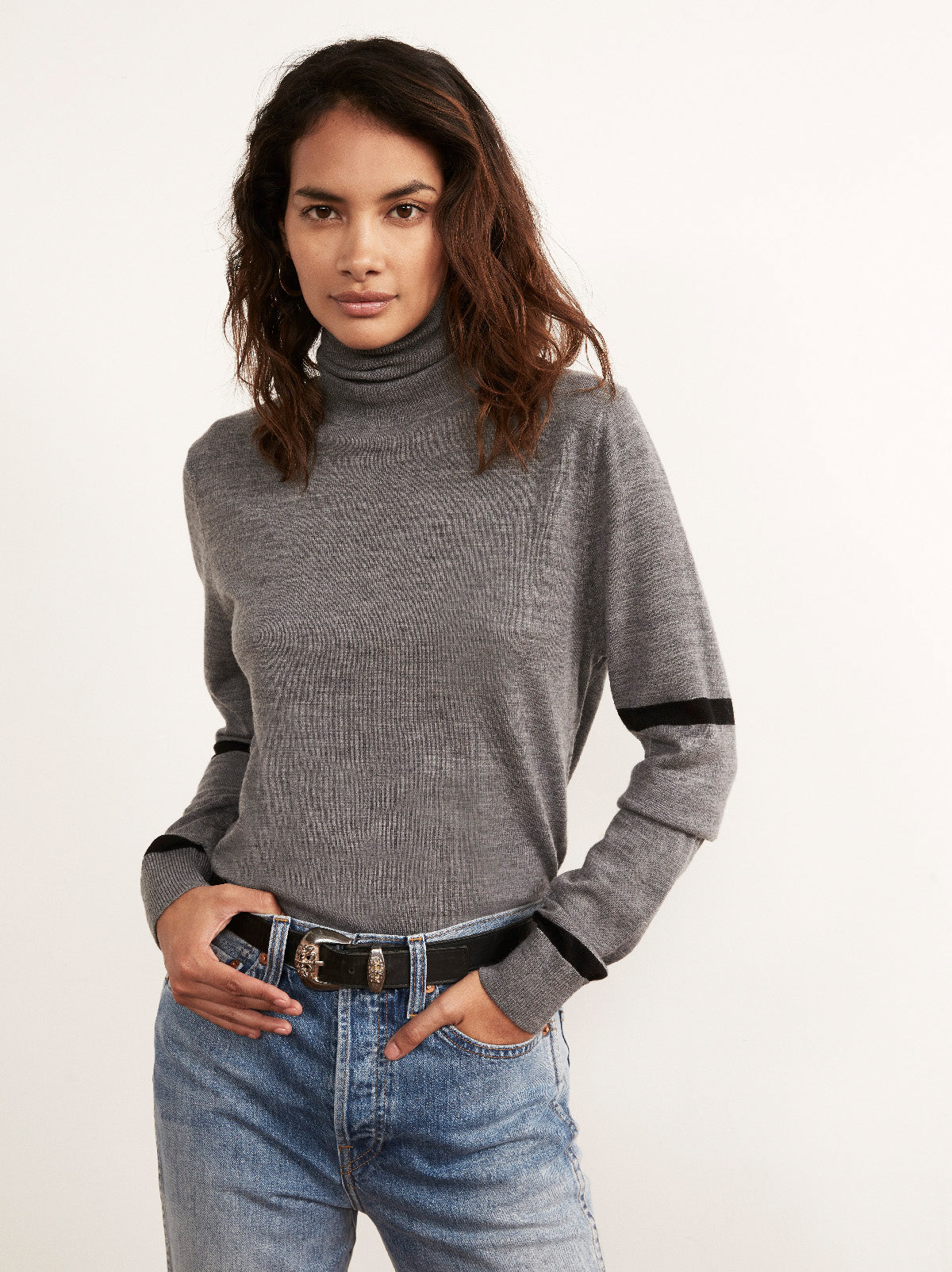 Phoebe Grey Roll Neck Jumper Detail