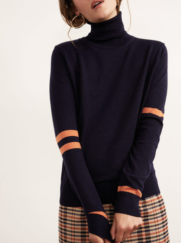 Phoebe Navy Merino Striped Roll Neck Jumper by KITRI Studio
