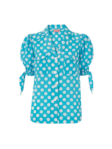 Ramona Aqua Blue Polka Dot Tie Sleeve Blouse by KITRI Studio