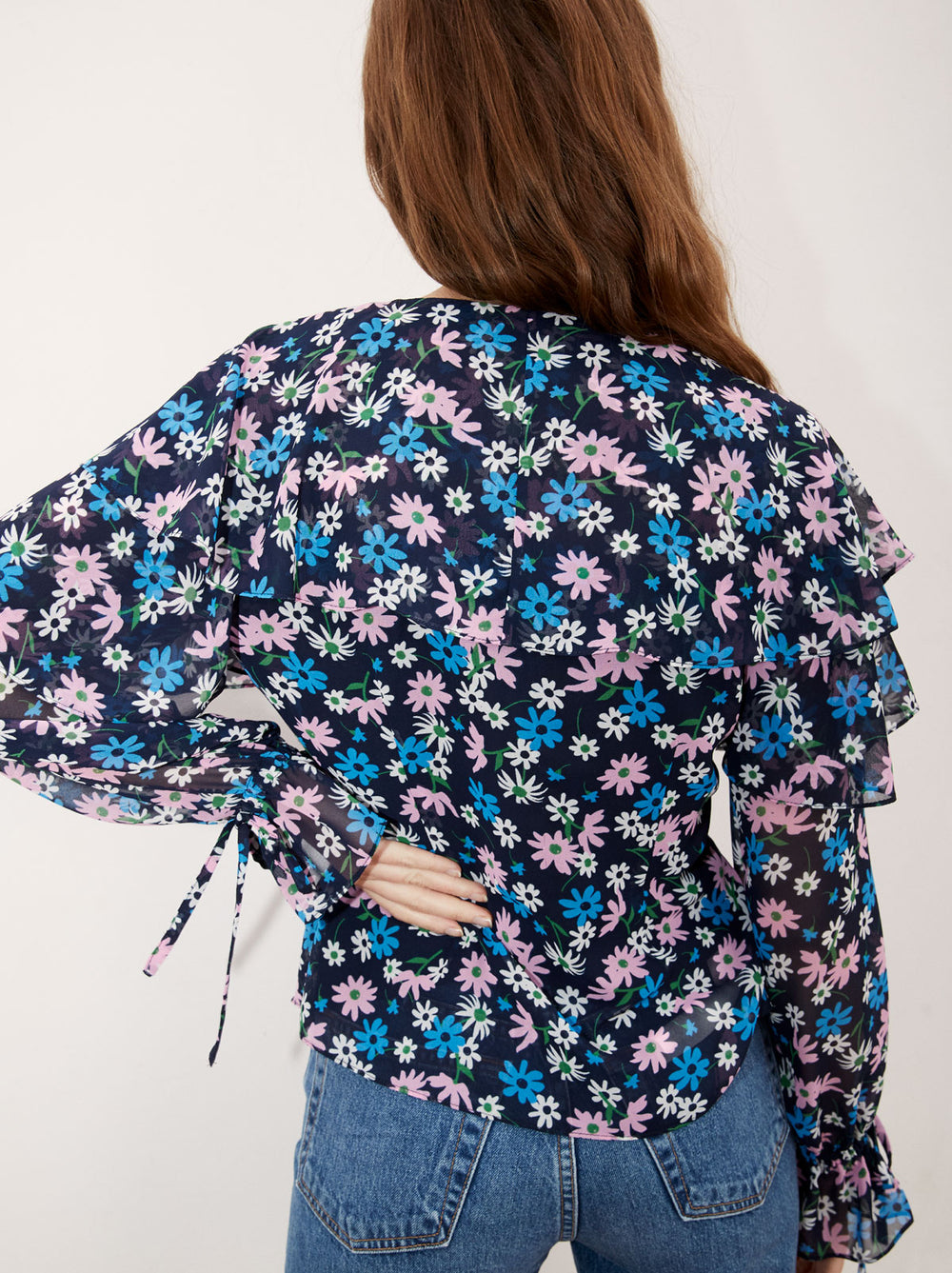 Ray Floral Print Frill Blouse by KITRI Studio