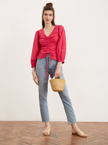 Riley Pink Cotton Statement Sleeve Shirt by KITRI Studio