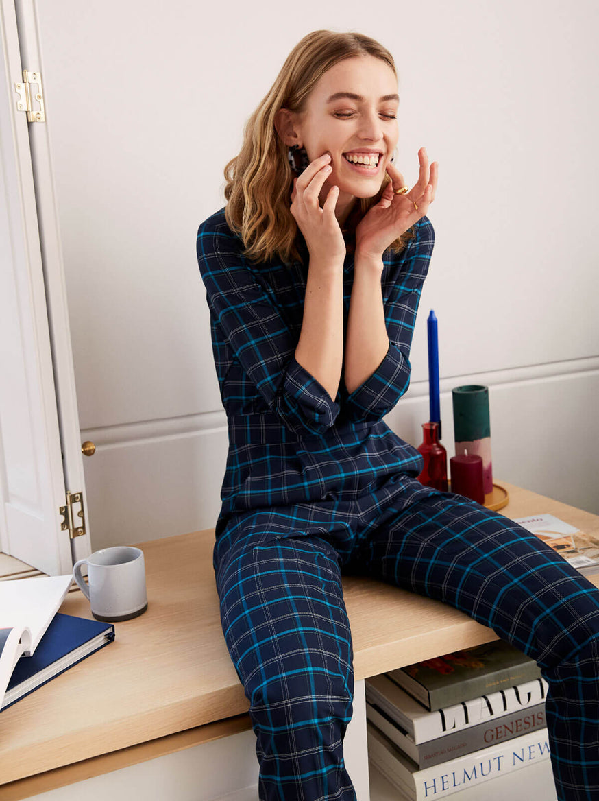 Roland Blue Checked Tailored Jumpsuit by KITRI Studio