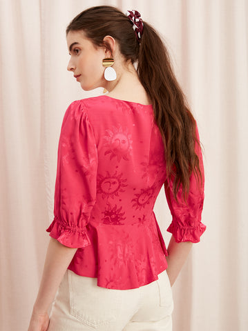 Rosaria Pink Peplum Top Back by KITRI Studio