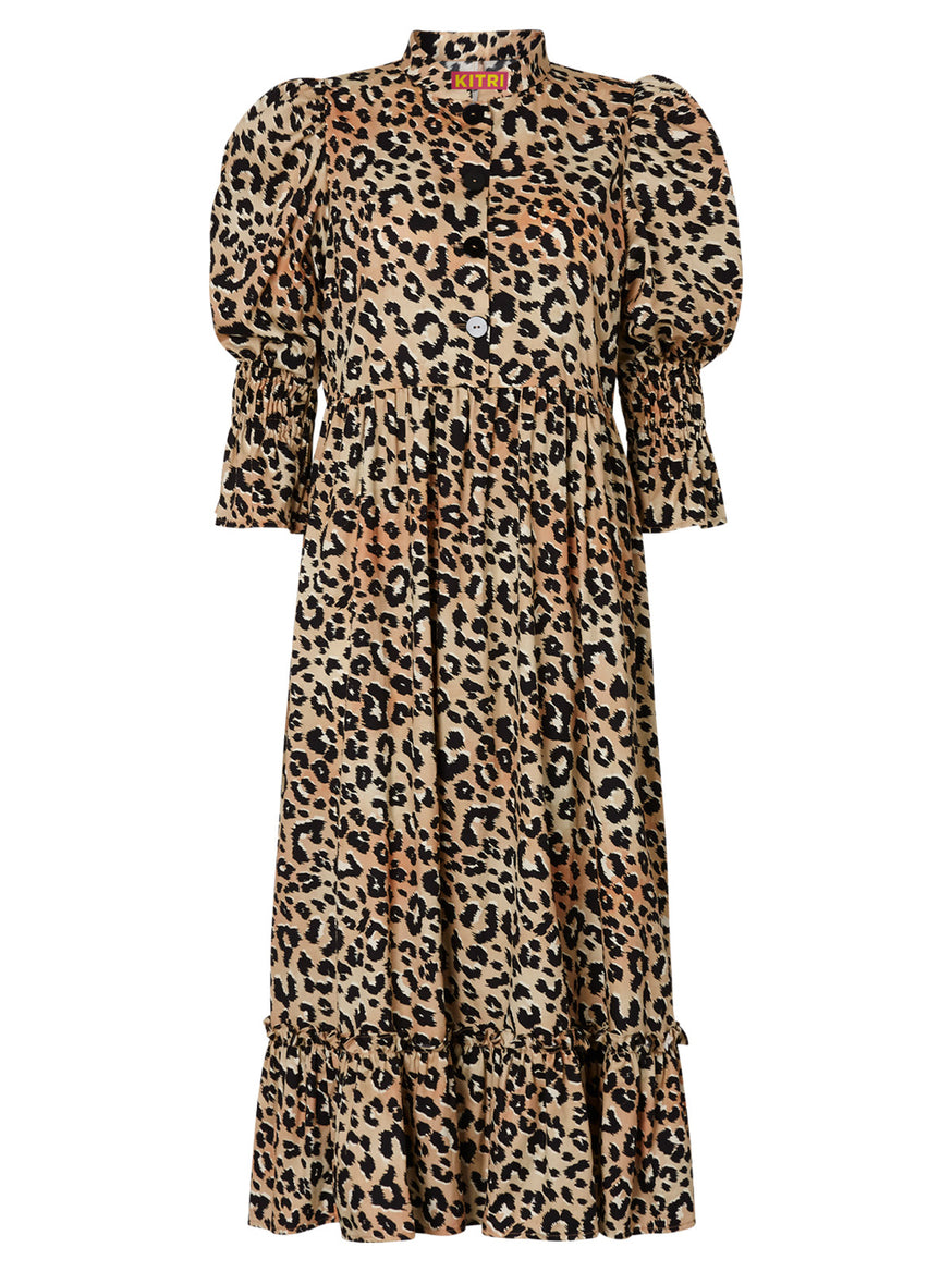 Rosie Leopard Print Cotton Midi Dress by KITRI Studio