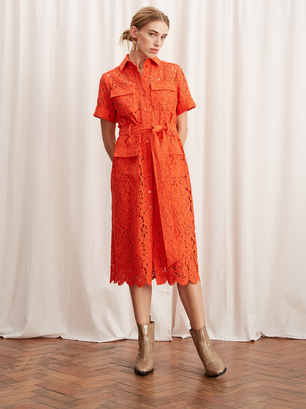 Rowena Orange Lace Midi Shirt Dress by KITRI Studio