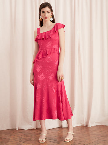 Roxanne Pink Frill Midi Dress by KITRI Studio