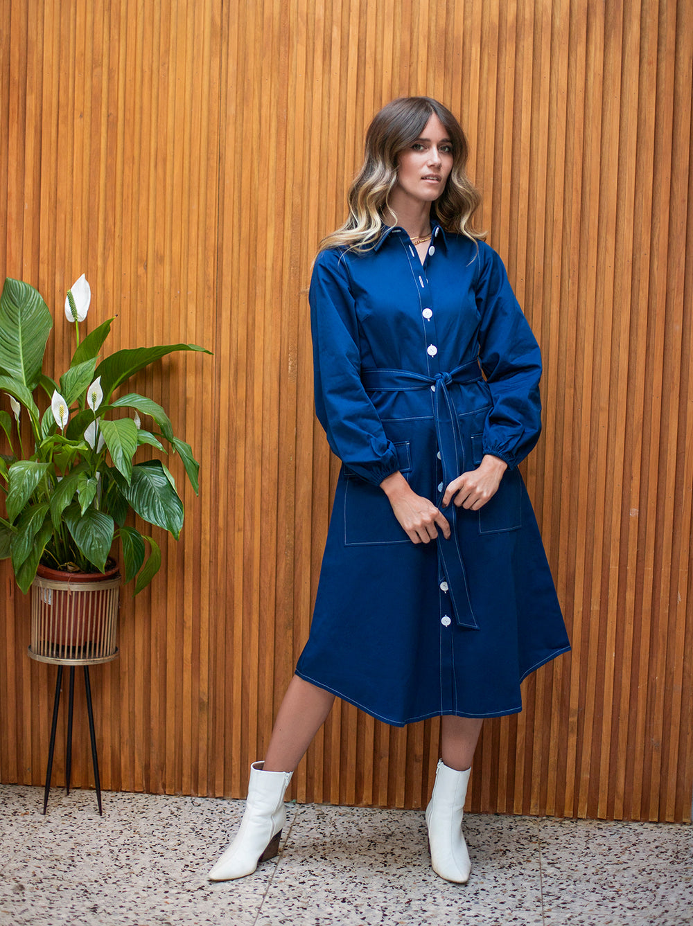 Sara Blue Midi Shirt Dress