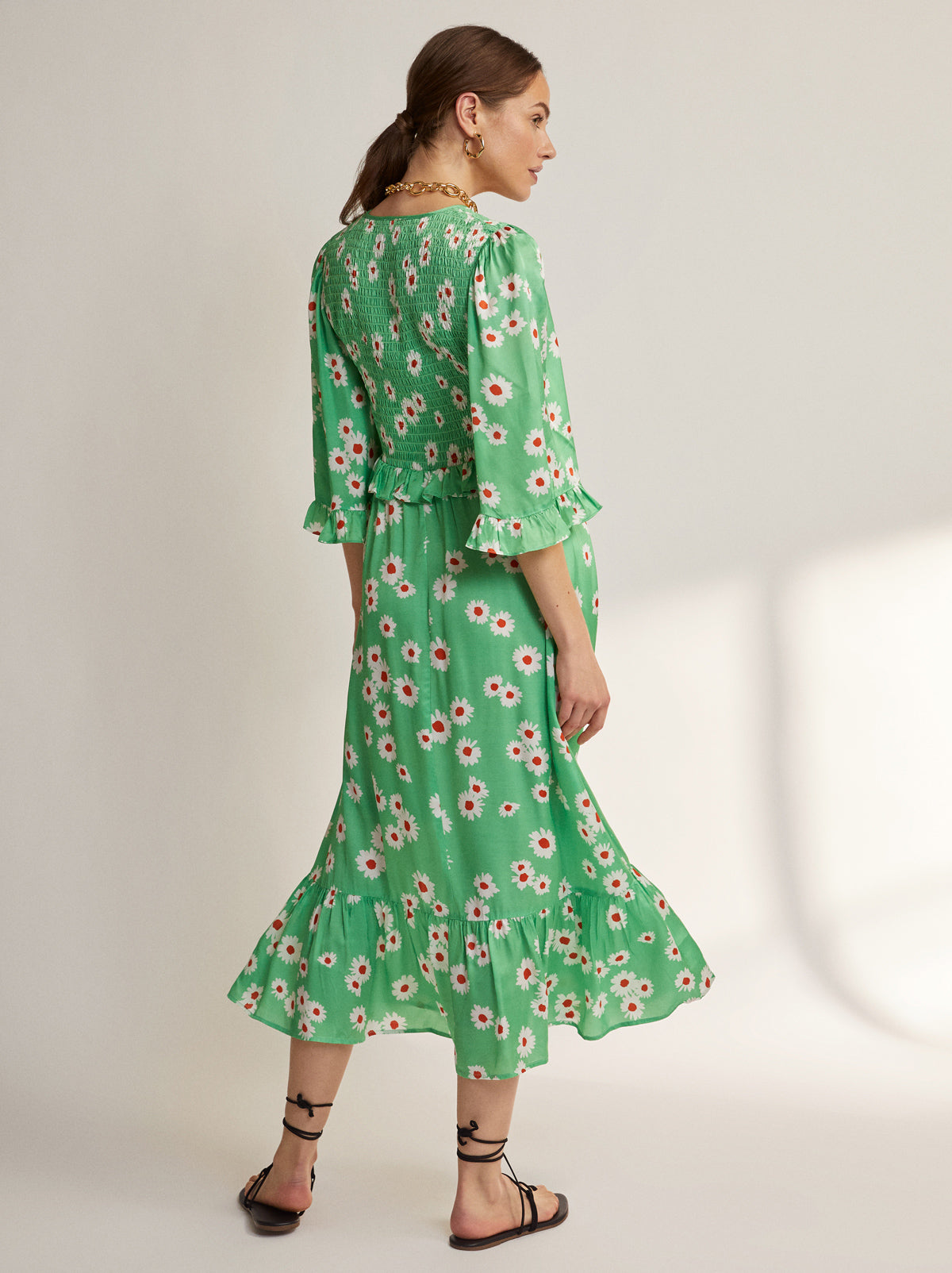 Savannah Green Daisy Shirred Dress by KITRI Studio