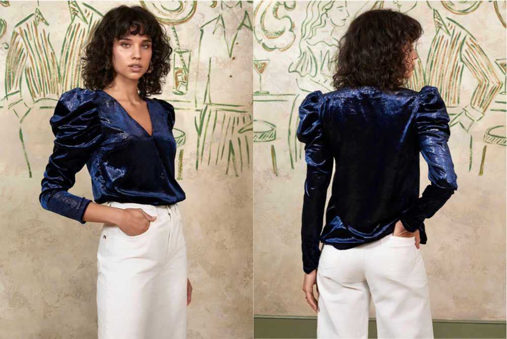 Isadora Metallic Velvet V-neck Top by KITRI Studio