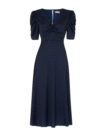 Serafina Navy Polka Dot Vintage Maxi Dress by KITRI Studio