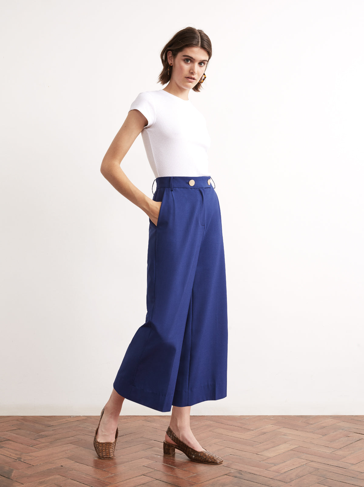 Serena Blue Cropped Wide Leg Trousers by KITRI Studio
