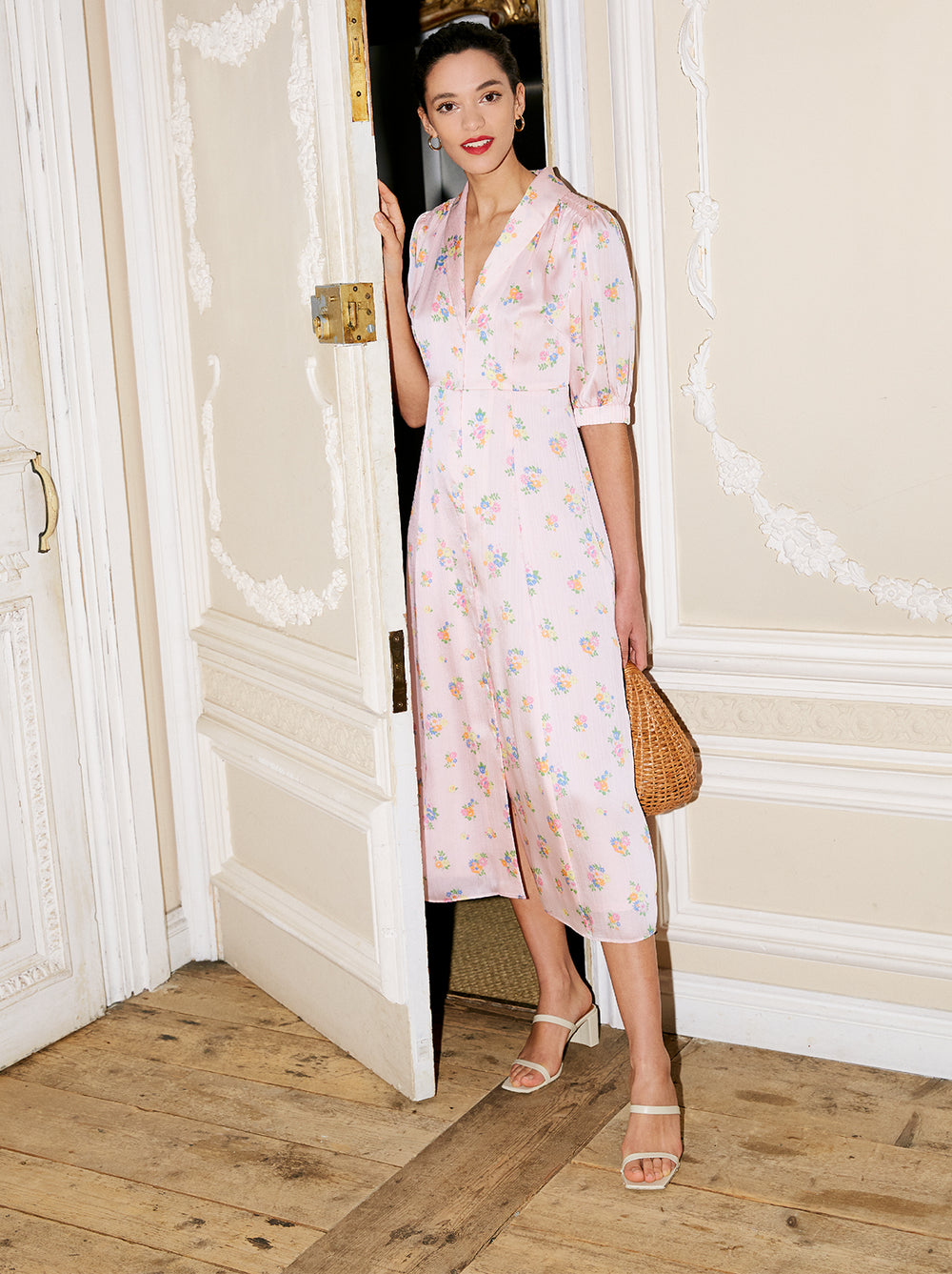 Siena Pink Floral Print Tea Dress by KITRI Studio