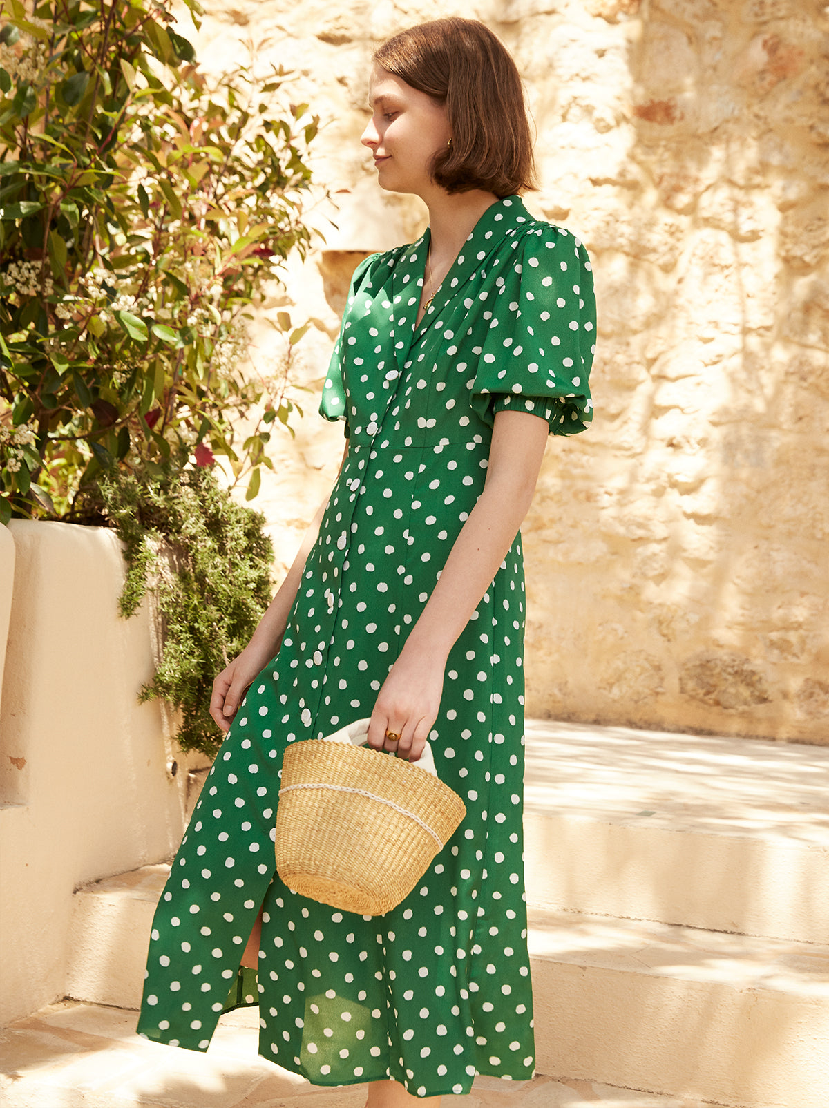 Siena Green Polka Dot Tea Dress by KITRI Studio