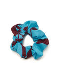 Small Aqua Floral Print Scrunchie by KITRI Studio