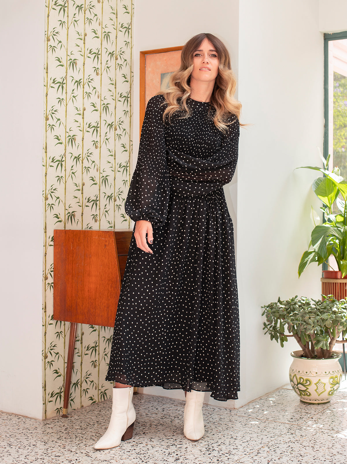 Sofiane Polka Dot Midi Dress