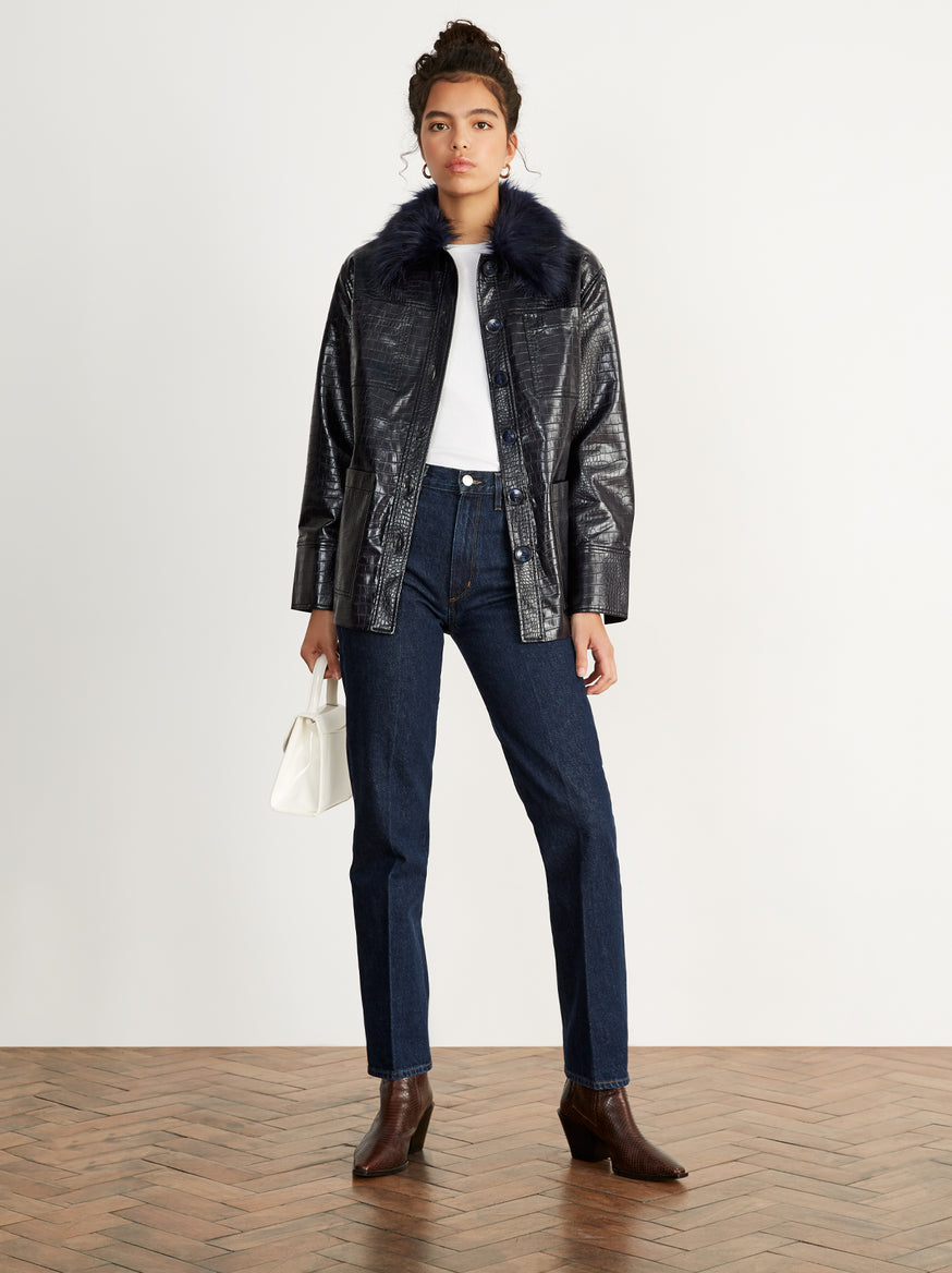Stella Navy Mock Croc Jacket
