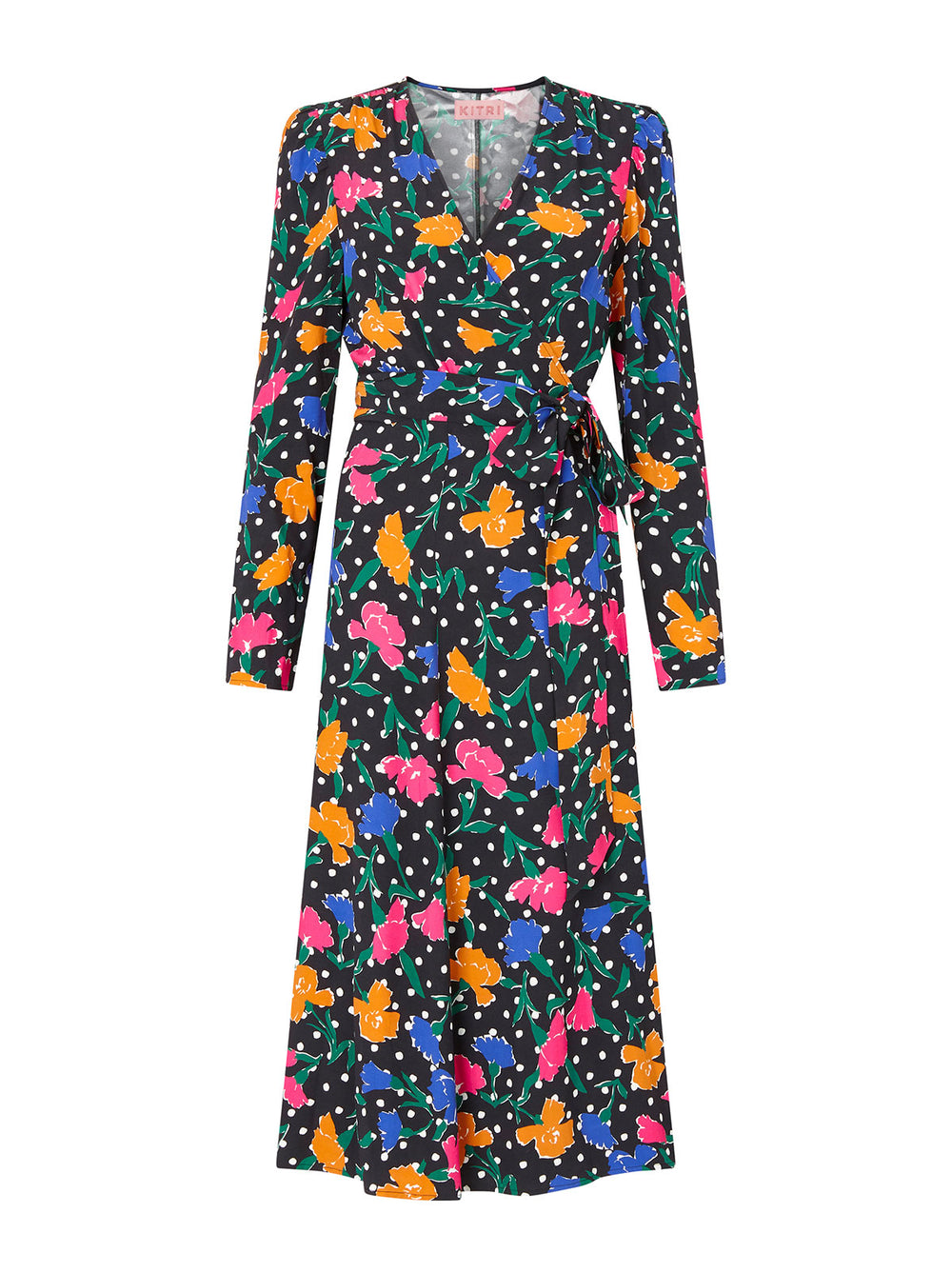 Stephanie Floral Polka Dot Wrap Dress