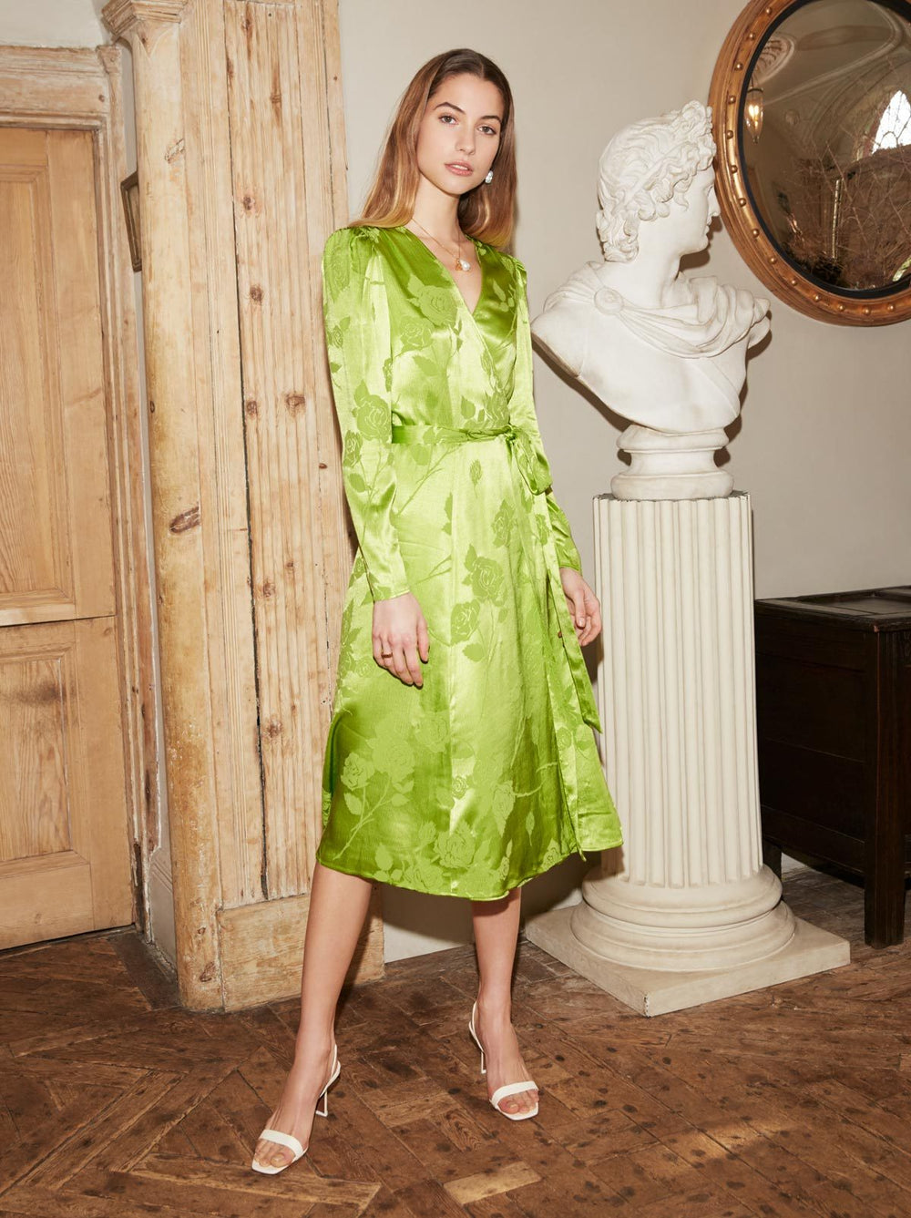 Stephanie Lime Jacquard Wrap Dress by KITRI Studio
