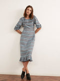 Sydney Check Frill Midi Dress by KITRI Studio