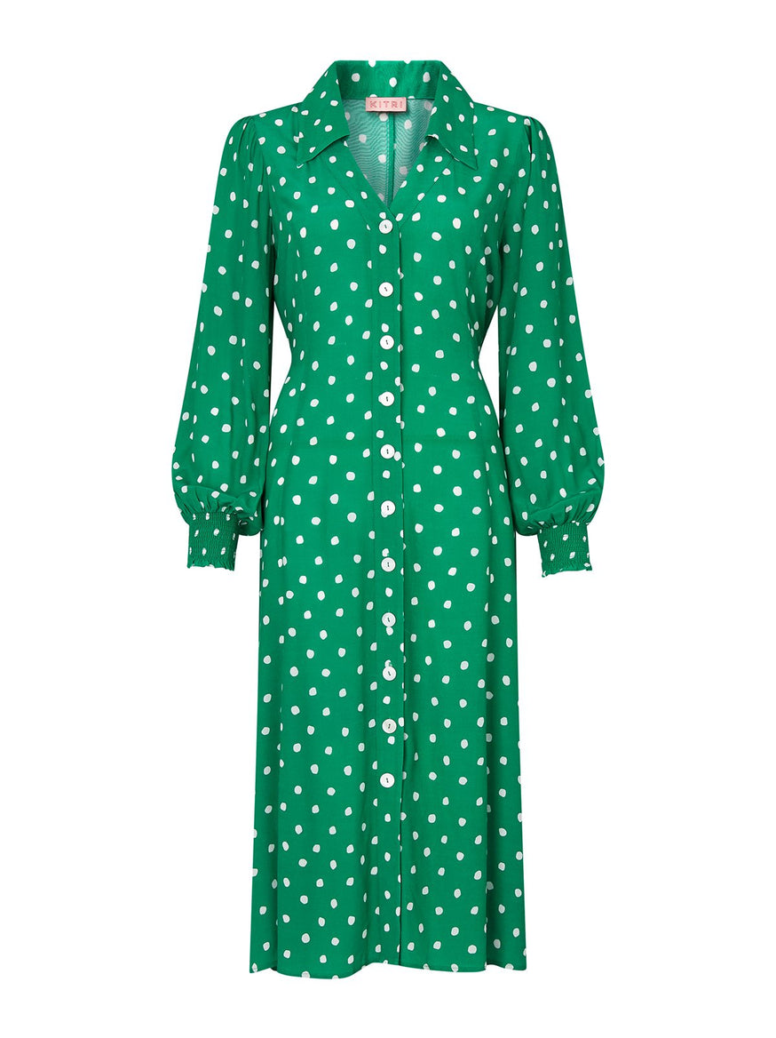 Sylvie Green Polka Dot Shirt Dress