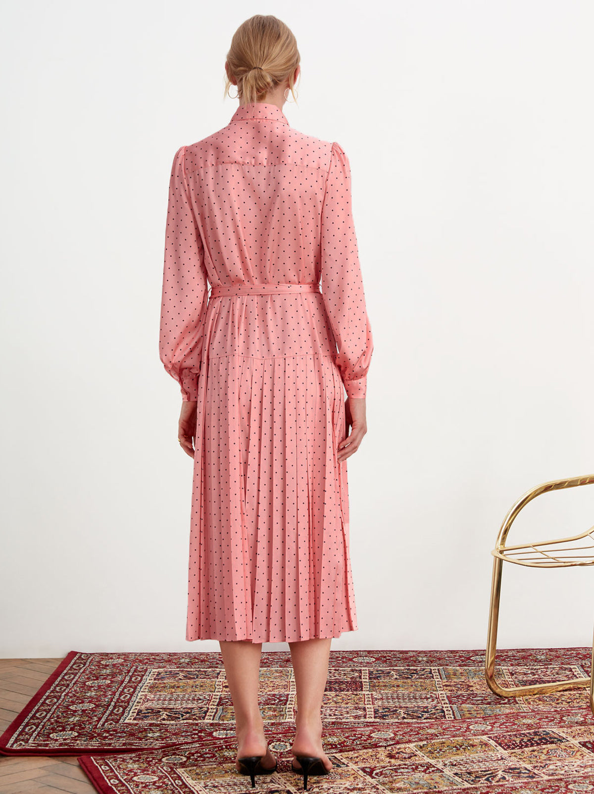 Tara Pink Polka Dot Pleated Shirt Dress by KITRI Studio