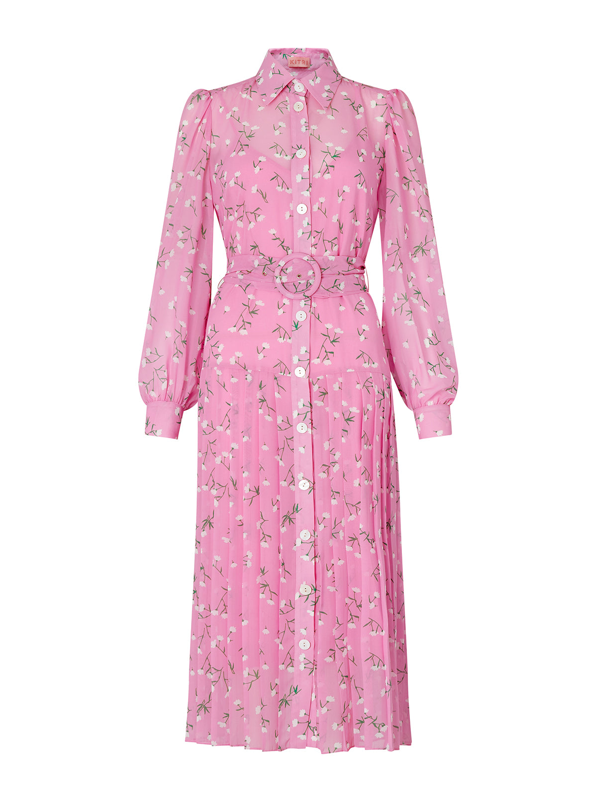 Tara Pink Floral Print Shirt Dress by KITRI Studio