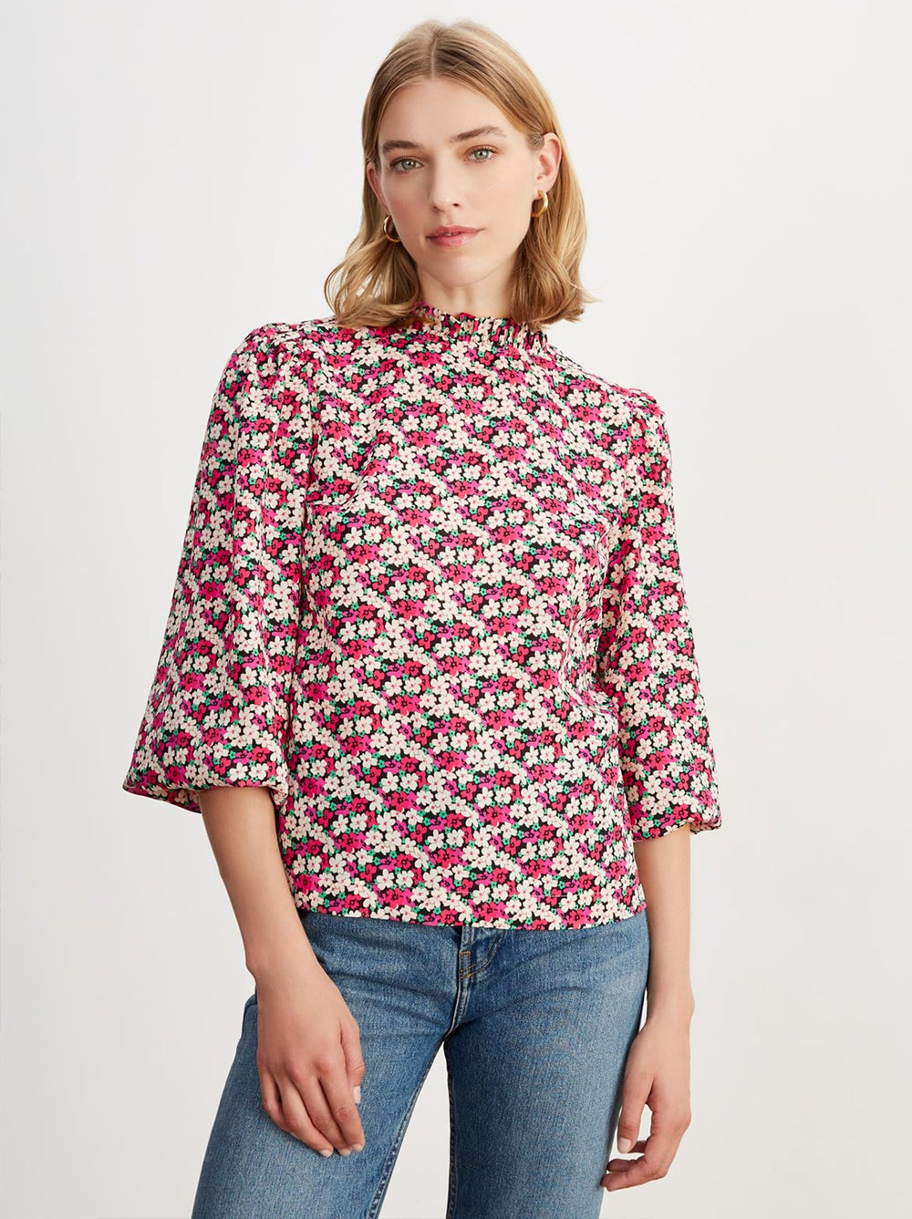 Teresa Floral Print Frill Collar Top by KITRI Studio